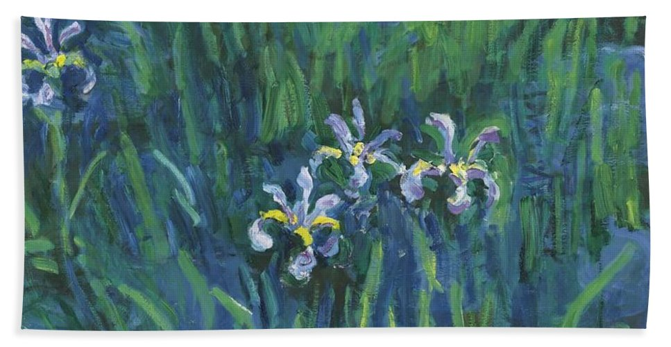 Claude Monet (french Bath Sheet featuring the painting Iris by MotionAge Designs