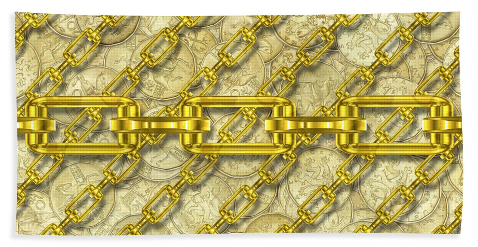 Seamless Hand Towel featuring the digital art Iron Chains With Money Seamless Texture by Miroslav Nemecek