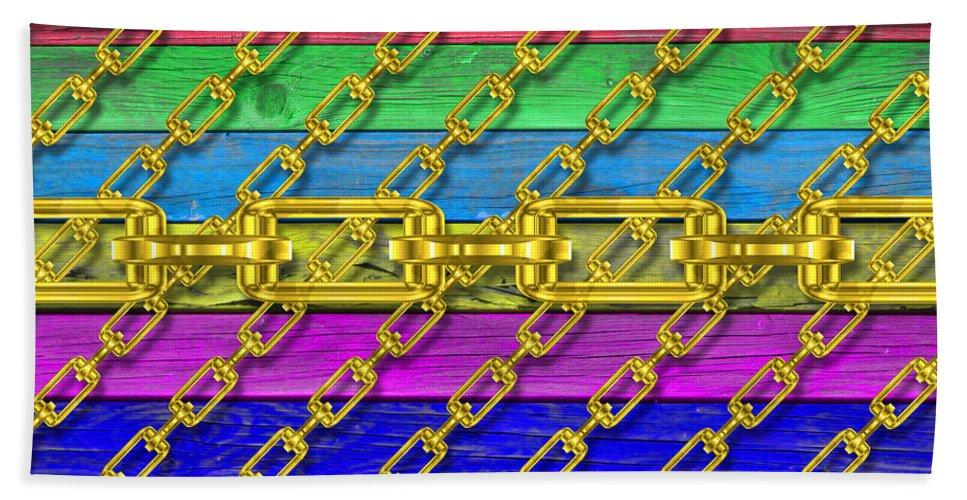 Metal Hand Towel featuring the digital art Iron Chains With Wood Texture by Miroslav Nemecek