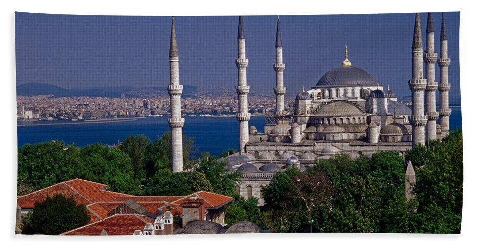 Turkey Hand Towel featuring the photograph Istanbul's Blue Mosque by Michele Burgess