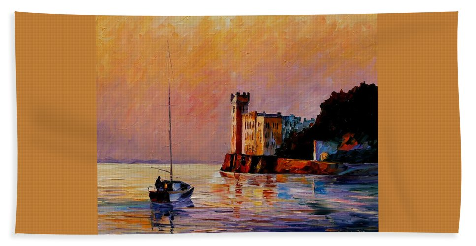 Afremov Bath Sheet featuring the painting Italy - Trieste Gulf by Leonid Afremov