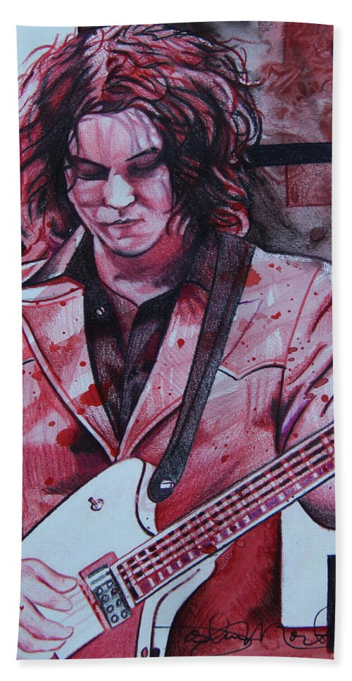 Jack White Hand Towel featuring the drawing Jack White by Joshua Morton