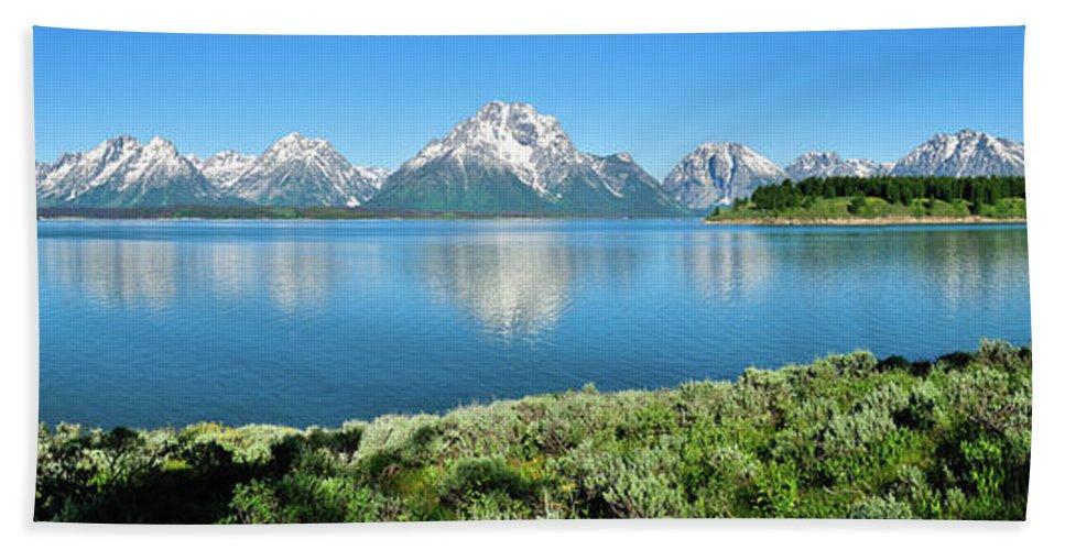 Tetons Bath Sheet featuring the photograph Jackson Lake Teton Panorama by Greg Norrell
