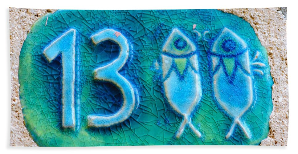 Israel Hand Towel featuring the photograph Jaffa, Pisces Zodiac Street Sign by Ilan Rosen