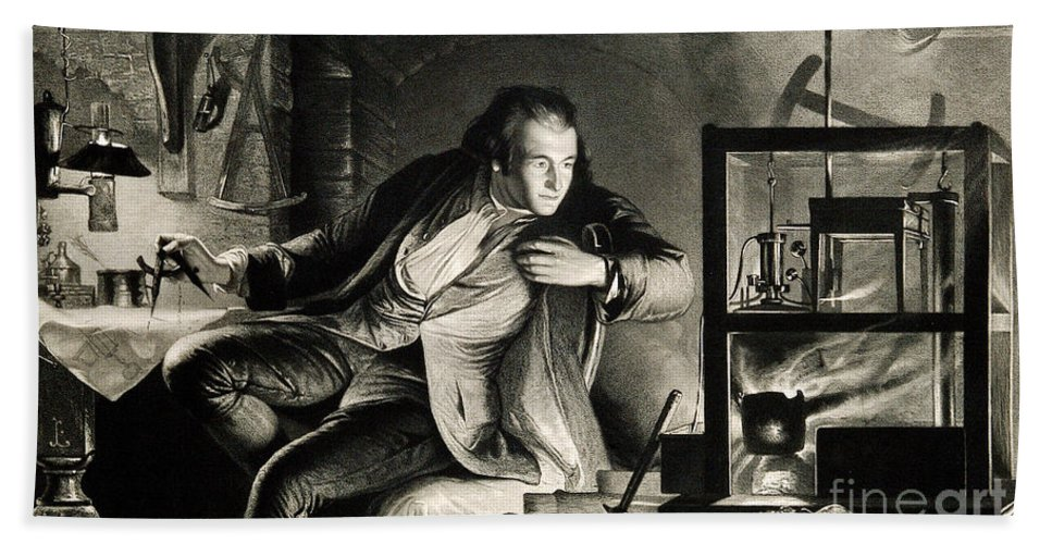 Science Hand Towel featuring the photograph James Watt, Scottish Inventor by Wellcome Images