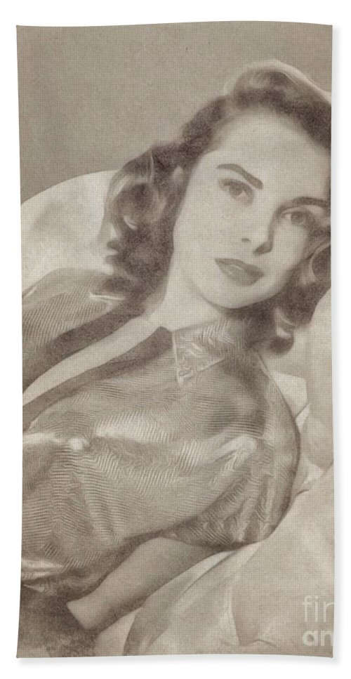 Hollywood Bath Sheet featuring the drawing Janet Leigh, Vintage Actress by John Springfield