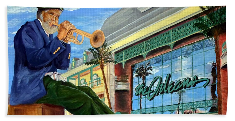 Las Vegas Hand Towel featuring the painting Jazz At The Orleans by Vicki Housel