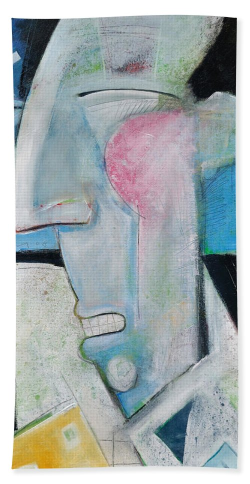 Jazz Bath Towel featuring the painting Jazz Face by Tim Nyberg