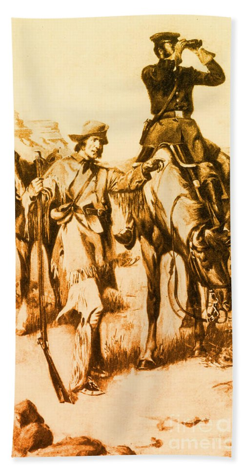 History Hand Towel featuring the photograph J.c. Fremont And His Guide, Kit Carson by Photo Researchers