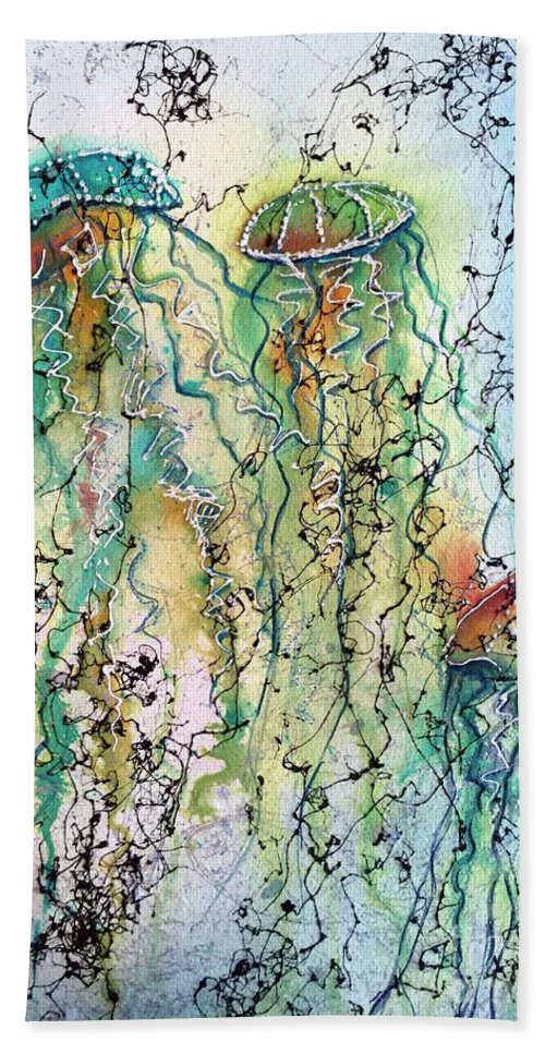 Jellyfish Hand Towel featuring the painting Jellyfish IIi by Midge Pippel