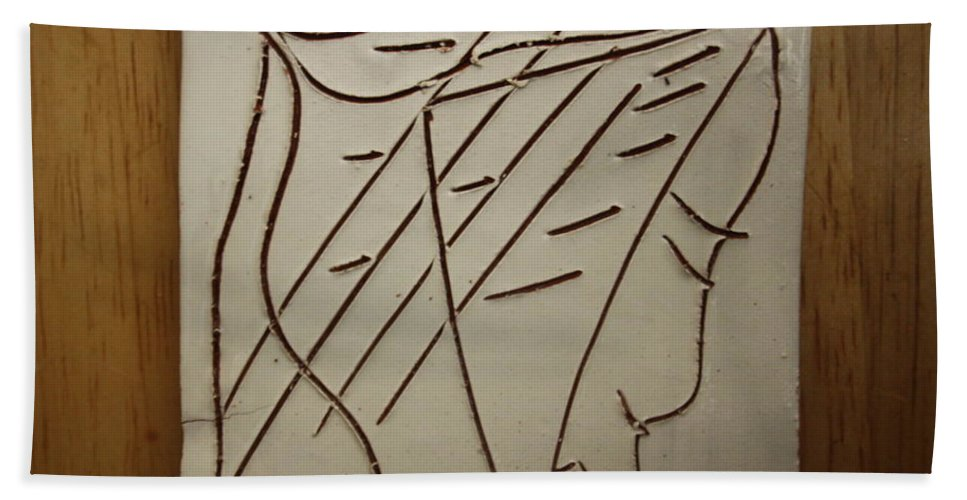 Jesus Hand Towel featuring the ceramic art Jesus - Tile by Gloria Ssali