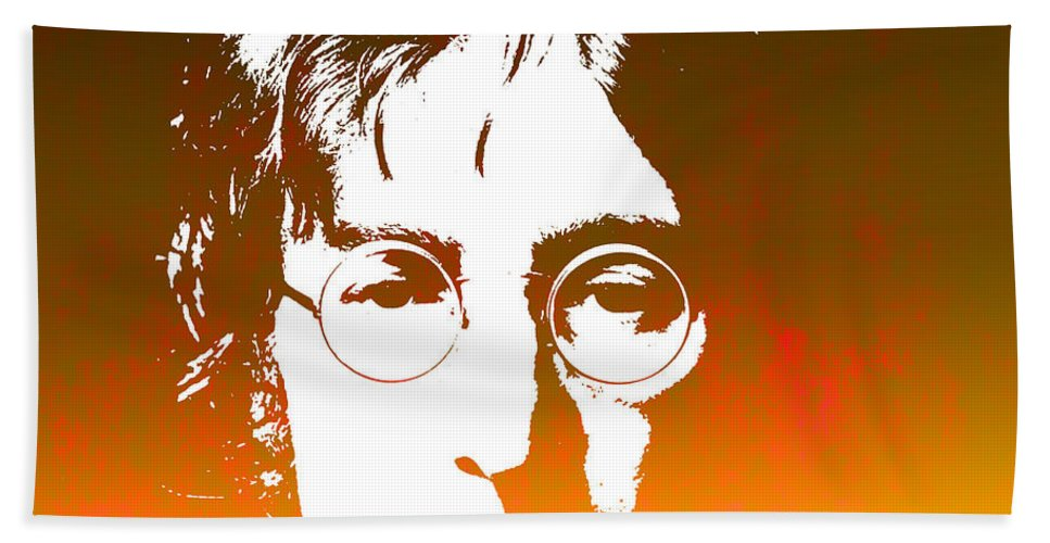 Beatles Bath Sheet featuring the photograph John Lennon The Legend by Chris Smith