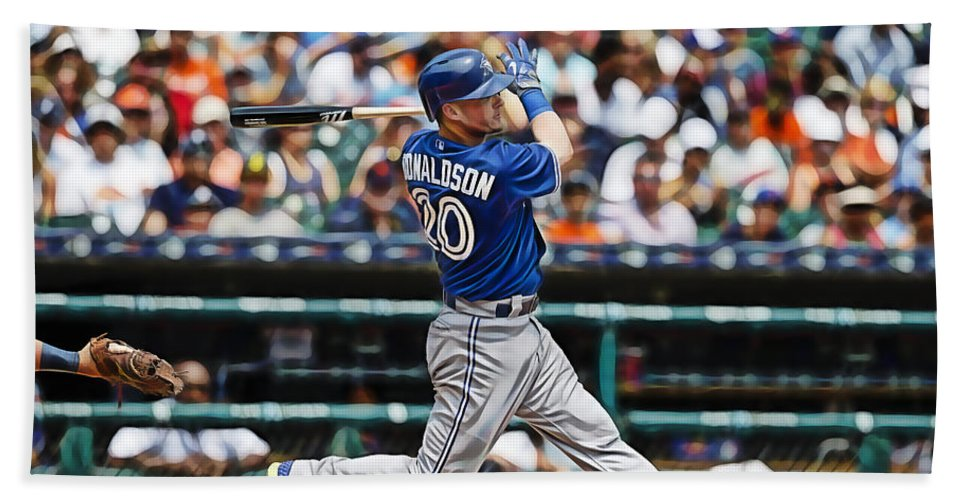 Josh Donaldson Hand Towel featuring the mixed media Josh Donaldson by Marvin Blaine