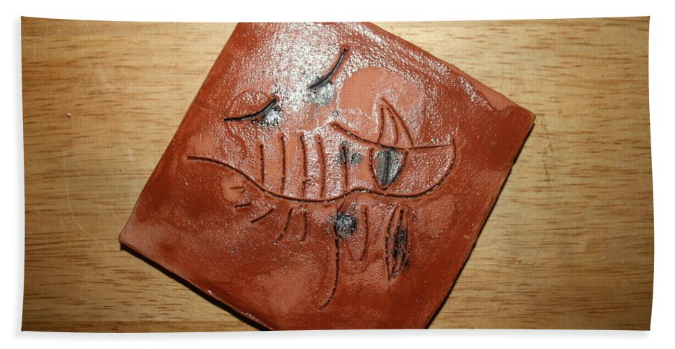 Jesus Hand Towel featuring the ceramic art Journeys 10 - Tile by Gloria Ssali