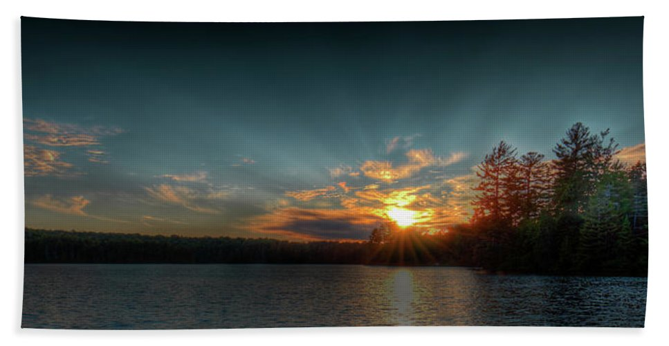 June Sunset On Nicks Lake Hand Towel featuring the photograph June Sunset On Nicks Lake by David Patterson