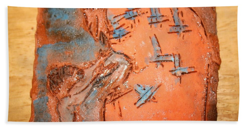 Jesus Hand Towel featuring the ceramic art Kaweeke - Tile by Gloria Ssali