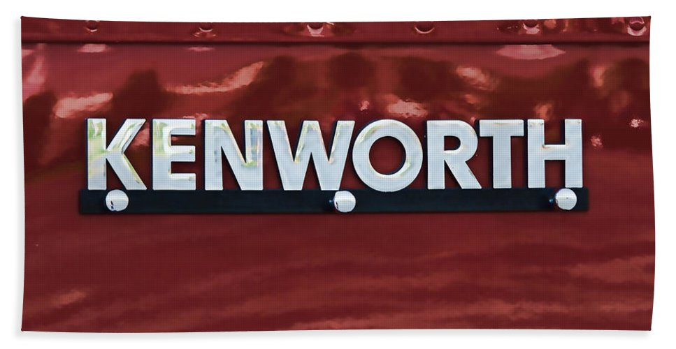 Kenworth Hand Towel featuring the photograph Kenworth Semi Truck Logo by Nick Gray