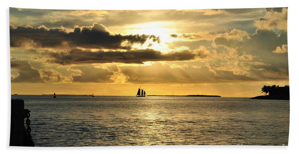 Beautiful Key West Sunset Captured From The South End Of Mallory Square In Key West Florida. Bath Sheet featuring the photograph Key West Sunset by Daniel Diaz
