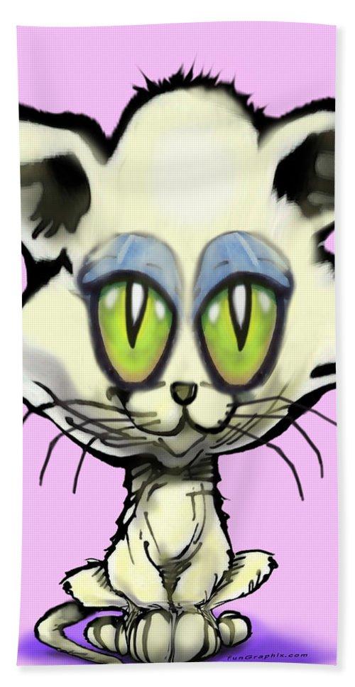 Kitten Bath Sheet featuring the digital art Kitten by Kevin Middleton