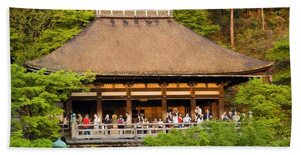 Pagoda Bath Sheet featuring the photograph Kiyomizudera Temple by Sebastian Musial