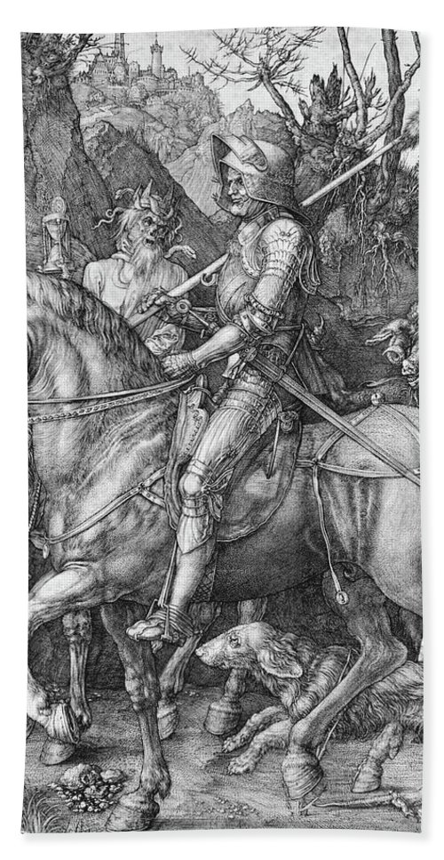 German Hand Towel featuring the painting Knight Death And The Devil by Albrecht Durer