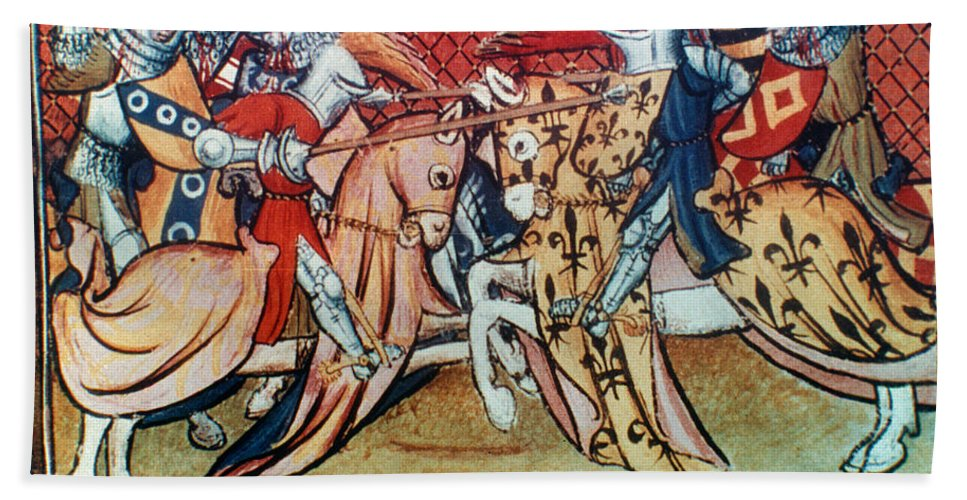 15th Century Bath Sheet featuring the photograph Knights In Tournament by Granger