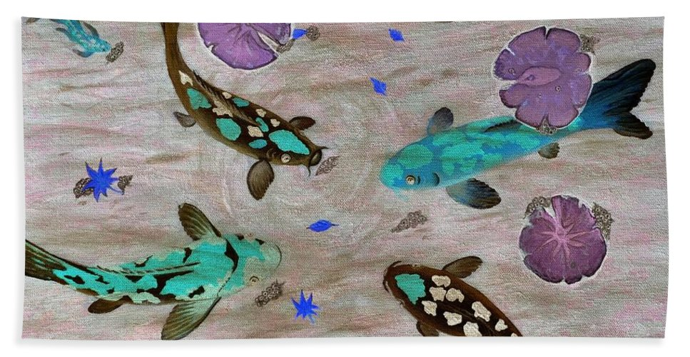 Koi Fish Hand Towel featuring the painting Koi Fish Feng Shui by Georgeta Blanaru