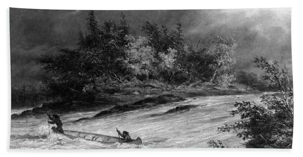 1855 Bath Sheet featuring the photograph Krieghoff: Canoe On Rapids by Granger