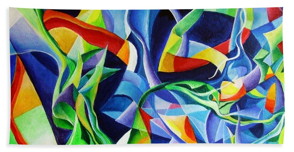 Claude Debussy Acrylic Abstract Pens Music Bath Towel featuring the painting La Mer by Wolfgang Schweizer