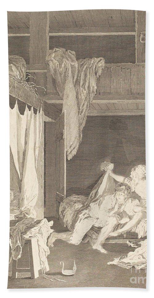 Hand Towel featuring the drawing La Sentinelle En D?faut by Nicolas Delaunay After Pierre-antoine Baudouin
