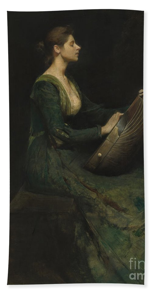 Hand Towel featuring the painting Lady With A Lute by Thomas Wilmer Dewing