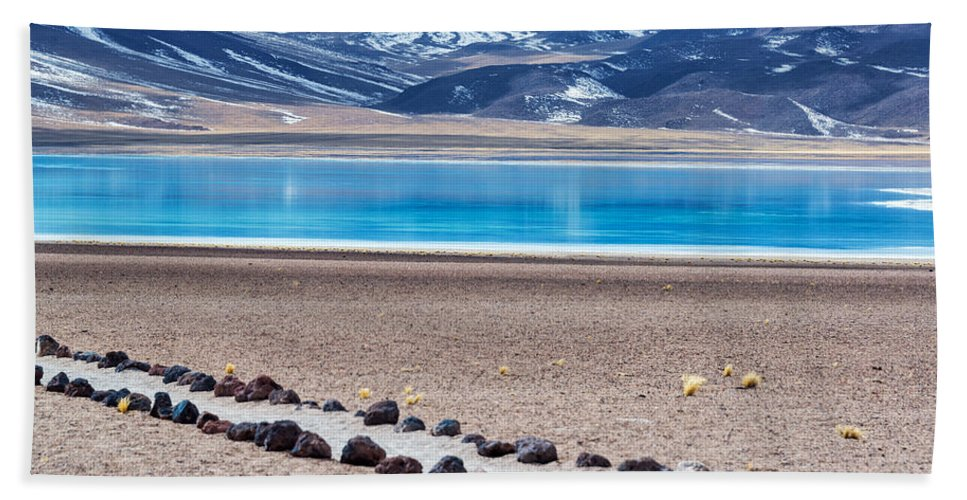 Miscanti Hand Towel featuring the photograph Lake Miscanti In Chile by Jess Kraft