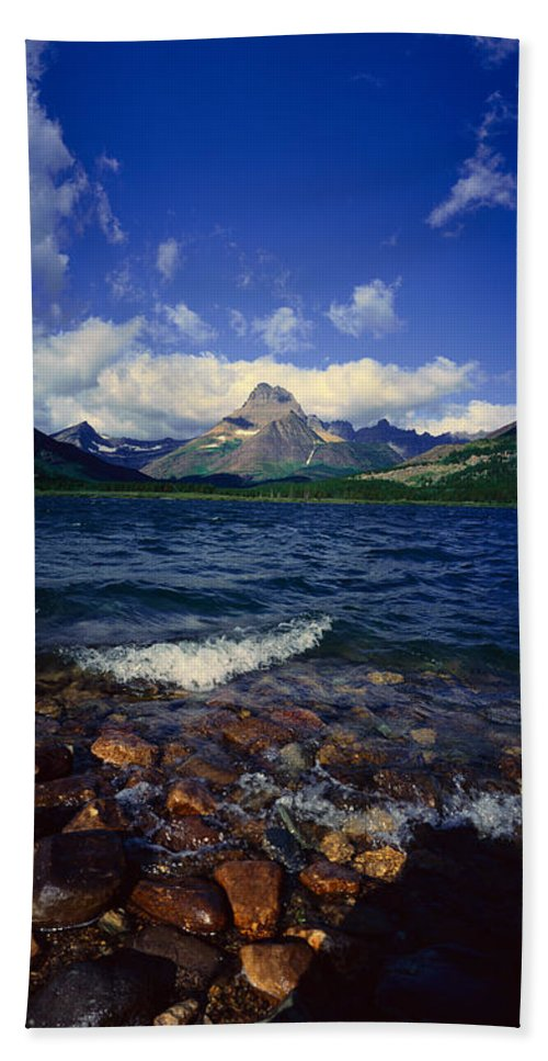 Photography Bath Sheet featuring the photograph Lake Sherburne, Glacier National Park by Panoramic Images