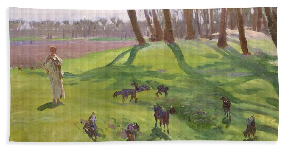 John Singer Sargent Hand Towel featuring the painting Landscape With Goatherd by John Singer Sargent