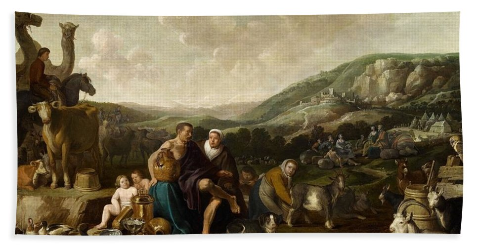 Cornelis Saftleven Bath Sheet featuring the painting Landscape With Jacob And Rachel by Cornelis Saftleven
