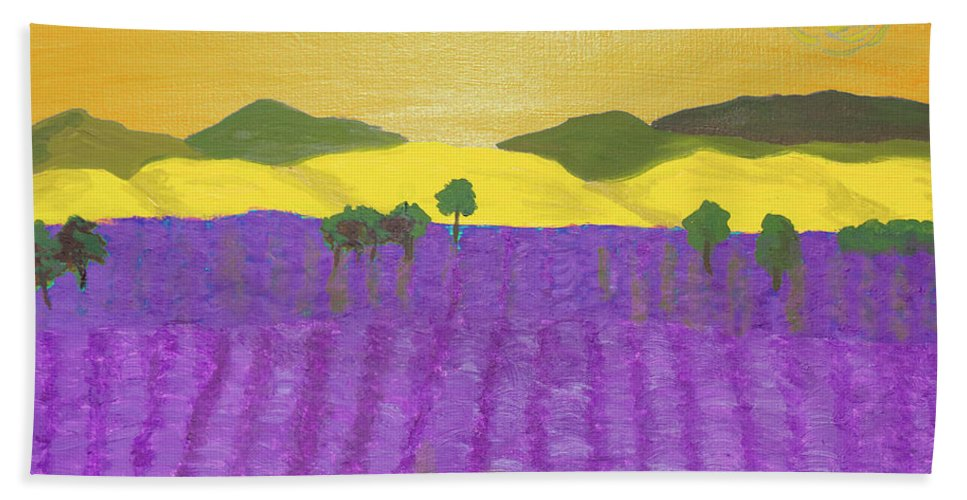 Lavender Bath Sheet featuring the painting Lavender Field by Irina Afonskaya
