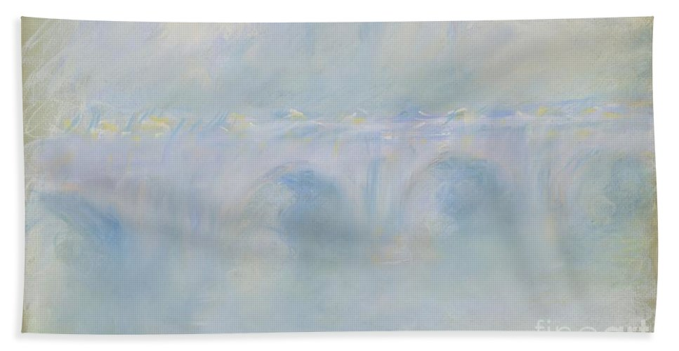 Hand Towel featuring the drawing Le Pont De Waterloo by Claude Monet