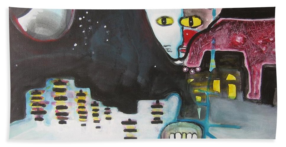 Cat Paintings Bath Towel featuring the painting Let Me Out3 by Seon-Jeong Kim