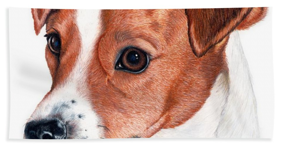 Jack Russell Terrier Hand Towel featuring the drawing Lewie by Kristen Wesch