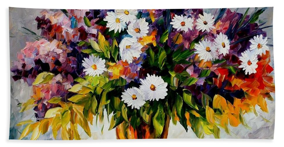Afremov Hand Towel featuring the painting Lilac And Camomiles by Leonid Afremov