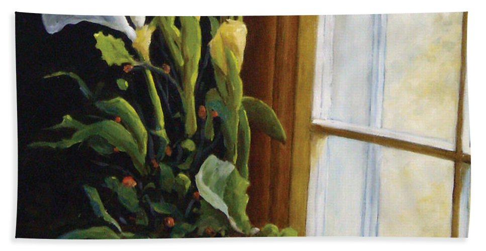 Art Bath Towel featuring the painting Lillies by Richard T Pranke