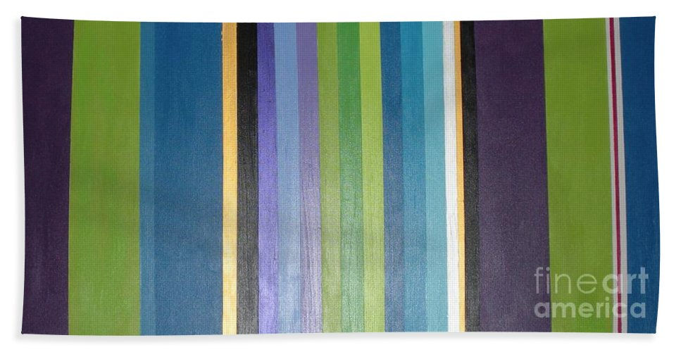 Purple Bath Towel featuring the painting Linea by Maria Bonnier-Perez
