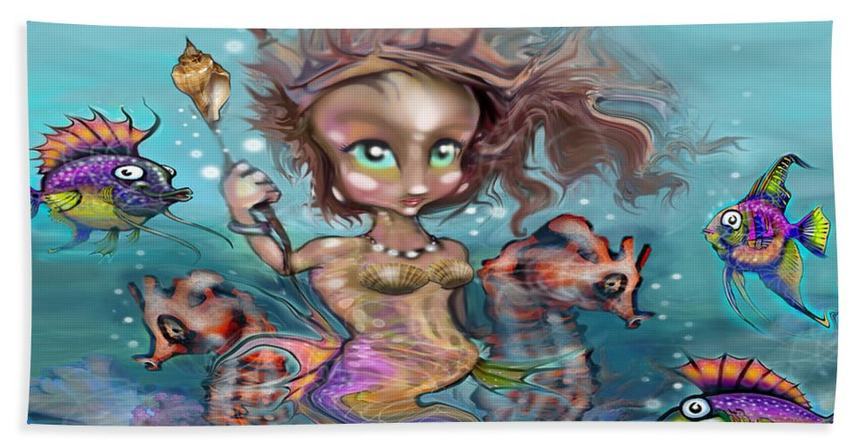Mermaid Hand Towel featuring the painting Little Mermaid by Kevin Middleton