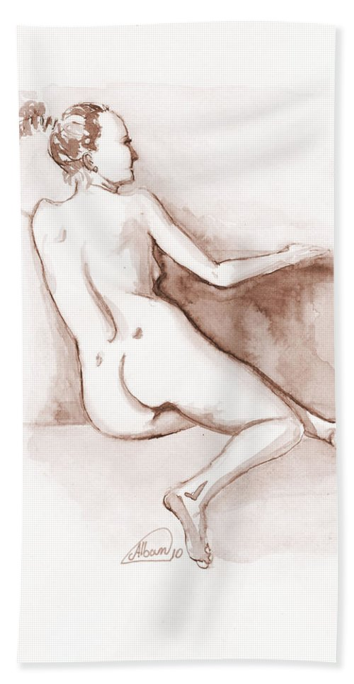 Nude Bath Sheet featuring the painting Live Model Figure  by Alban Dizdari