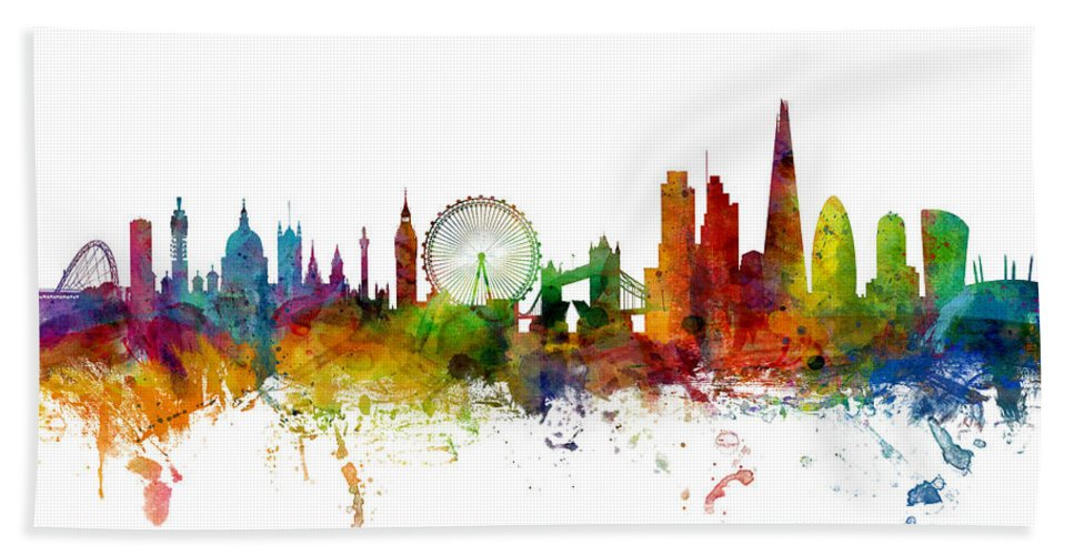 London Hand Towel featuring the digital art London England Skyline Panoramic by Michael Tompsett