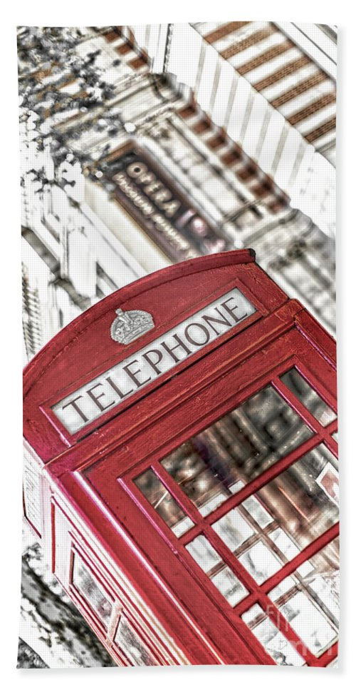Big Ben Hand Towel featuring the photograph London Telephone 3b by Alex Art and Photo