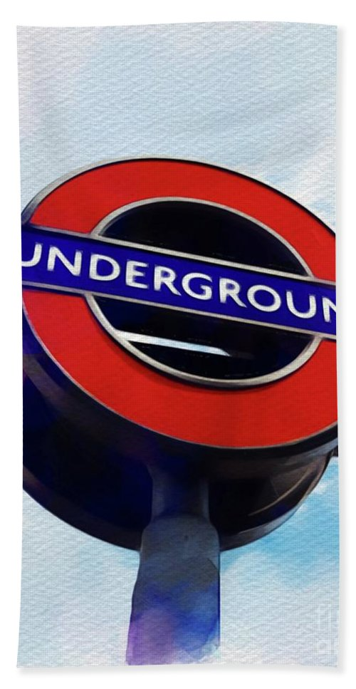 Underground Bath Towel featuring the painting London Underground by John Springfield