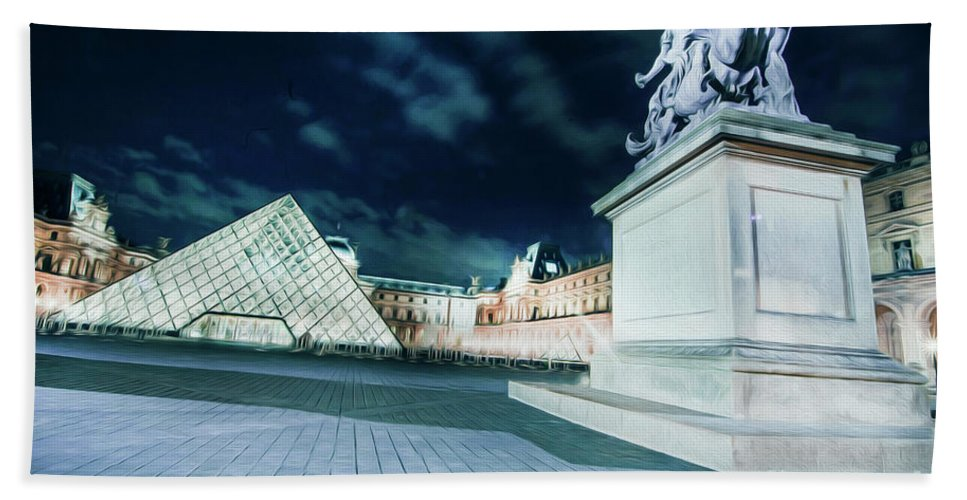 Paris Hand Towel featuring the photograph Louvre Museum 6b Art by Alex Art and Photo
