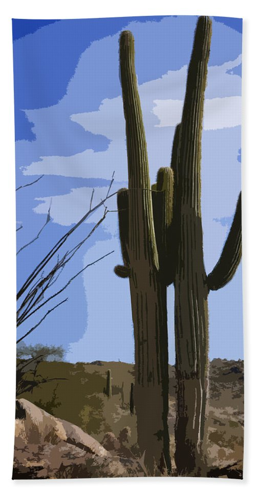 Giant Saguaro Bath Sheet featuring the photograph Loving Couple by Kelley King