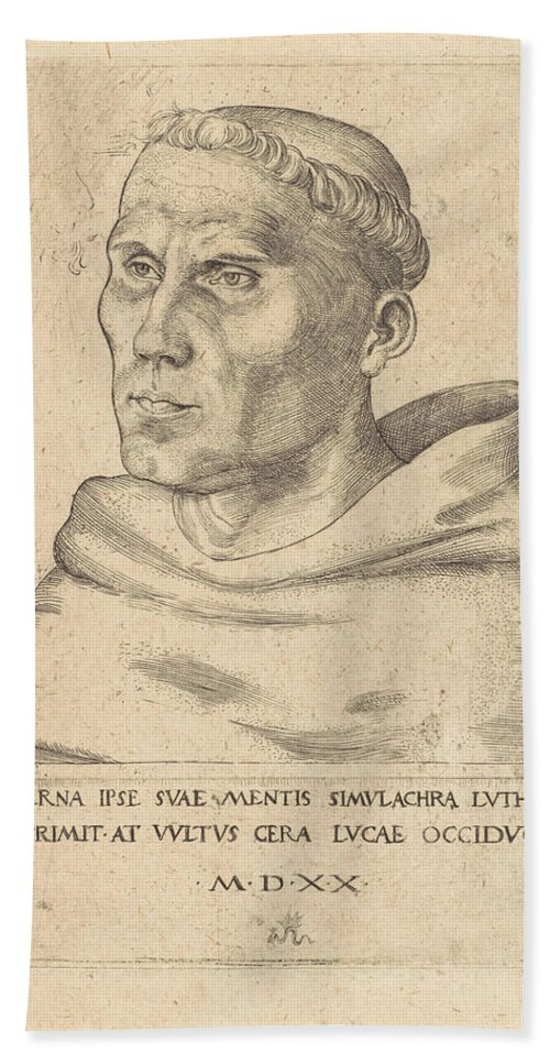 Martin Luther As An Augustinian Monk Bath Sheet featuring the painting Lucas Cranach The Elder by MotionAge Designs